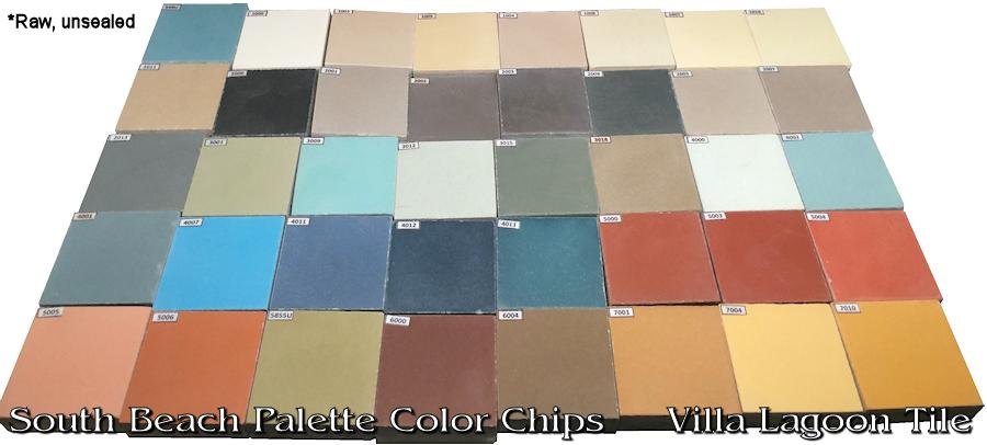 The South Beach Collection cement tile color chips.