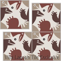 """Bird and Friends"" Custom Jeff Shelton Cement Tile, from Villa Lagoon Tile."
