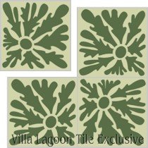 """Dandelion"" Custom Jeff Shelton Cement Tile, from Villa Lagoon Tile."