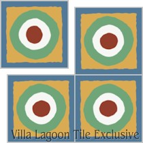 """East Beach Circle"" Custom Jeff Shelton Cement Tile, from Villa Lagoon Tile."