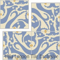 """Grunion"" Custom Jeff Shelton Cement Tile, from Villa Lagoon Tile."