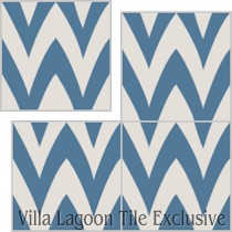 """Leaf Zag"" Custom Jeff Shelton Cement Tile, from Villa Lagoon Tile."