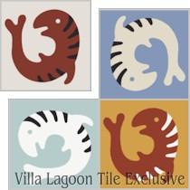 """Lone Fish"" Custom Jeff Shelton Cement Tile, from Villa Lagoon Tile."