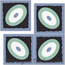 """Palm Park Ellipse"" Custom Jeff Shelton Cement Tile, from Villa Lagoon Tile."