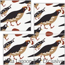 """Quail"" Custom Jeff Shelton Cement Tile, from Villa Lagoon Tile."