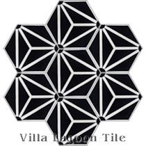 """Atlas A Black and White Evening"" Hex Cement Tile"
