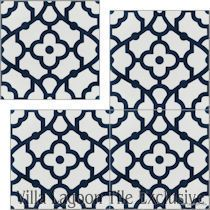 Cement tile in stock villa lagoon tile for Blue and white cement tile
