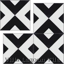 """Charge Black & White"" Cement Tile"