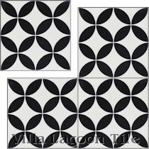 """Circulos B Black and White Morning"" Cement Tile"