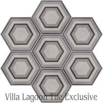 """Concentric Hex C"" Cement Tile"