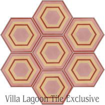 """Concentric Hex F"" Cement Tile"