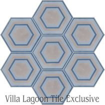 """Concentric Hex H"" Cement Tile"