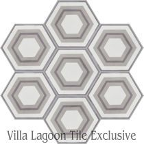 """Concentric Hex J"" Cement Tile"