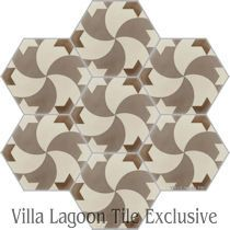 Damascus Hex Cement Tile, from Villa Lagoon Tile