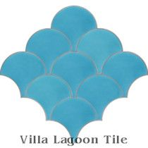 """Fishscale Brilliant Sea"" Cement Tile"