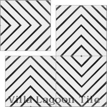 """Labyrinth Black and White Morning"" Cement Tile"