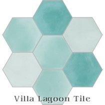 """Mixed Aqua Hex"" Cement Tile"