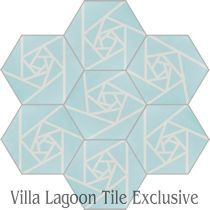 Origami Blue Hex Cement Tile, from Villa Lagoon Tile