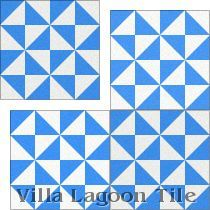 """Pinwheel B Blue"" Cement Tile"