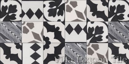 """Random Patchwork Black, White, and Grays"" 4-inch Cement Tile"