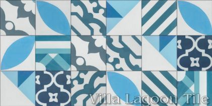 """Random Patchwork Blues and White"" 4-inch Cement Tile"