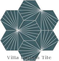 """Spark C Aegean"" Hex Cement Tile"