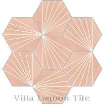 """Spark C Coral"" Hex Cement Tile"