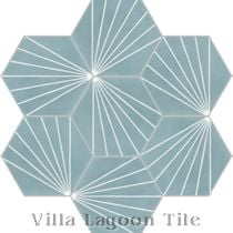 """Spark C Stone Blue"" Hex Cement Tile"