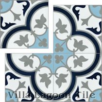 """Tulips B Navy"" Cement Tile"
