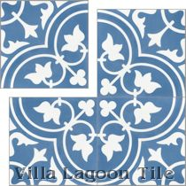 """Tulips B Royal"" Cement Tile"