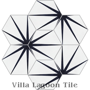 """Alley Black and White Morning"" Hex Cement Tile, from Villa Lagoon Tile."