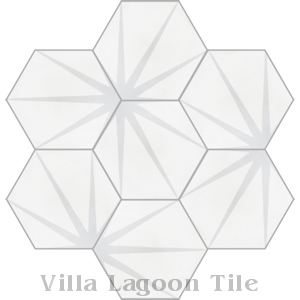 """Alley Dover"" Hex Cement Tile, from Villa Lagoon Tile."