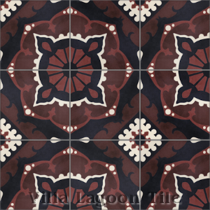 """Amalena Burgundy"" Cement Tile, from Villa Lagoon Tile, from Villa Lagoon Tile."