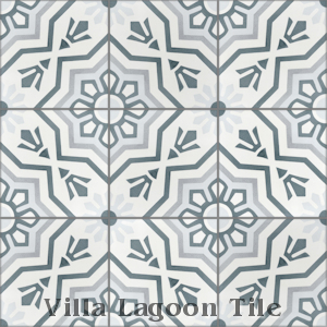 """Aztec Sun A Silver"" Cement Tile, from Villa Lagoon Tile."