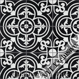 """Caprice Black and White Evening"" Cement Tile, from Villa Lagoon Tile, from Villa Lagoon Tile."