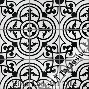 """Caprice Black and White Morning"" Cement Tile, from Villa Lagoon Tile, from Villa Lagoon Tile."