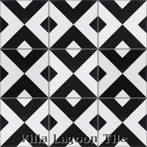 """Charge Black & White"" Cement Tile, from Villa Lagoon Tile."