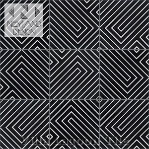 """Circuitry Black & White Eveing"" Cement Tile, from Stu Neyland and Villa Lagoon Tile."