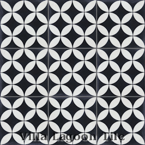 """Circulos B Black and White Evening"" Cement Tile, from Villa Lagoon Tile."