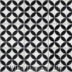 """Circulos B Black and White Morning"" Cement Tile, from Villa Lagoon Tile."