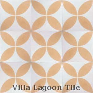 """Circulos Four Peach"" Cement Tile, from Villa Lagoon Tile."