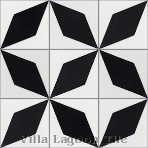 """Compass Point"" black and white Cement Tile, from Villa Lagoon Tile."
