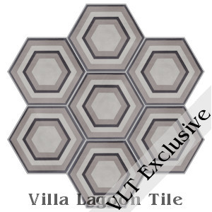 """Concentric Hex C"" Cement Tile, from Villa Lagoon Tile"