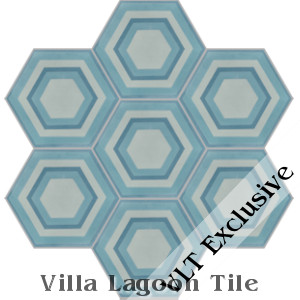 """Concentric Hex D"" Cement Tile, from Villa Lagoon Tile"
