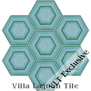 """Concentric Hex E"" Cement Tile, from Villa Lagoon Tile"