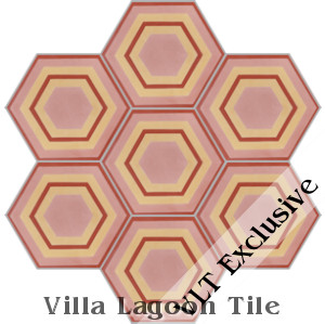 """Concentric Hex F"" Cement Tile, from Villa Lagoon Tile"