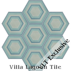 """Concentric Hex K"" Cement Tile, from Villa Lagoon Tile"