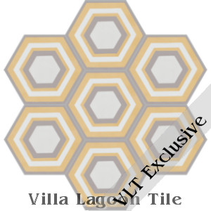 """Concentric Hex L"" Cement Tile, from Villa Lagoon Tile"