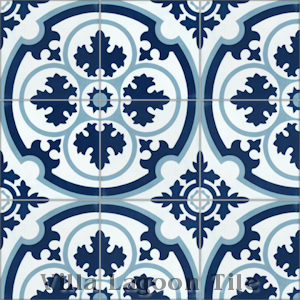 """Danielle Navy"" Cement Tile, from Villa Lagoon Tile."