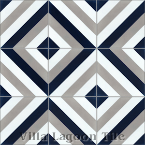 """Diagonal Eight Navy"" Cement Tile, from Villa Lagoon Tile."